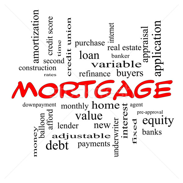Mortgage Word Cloud Concept in red caps Stock photo © mybaitshop