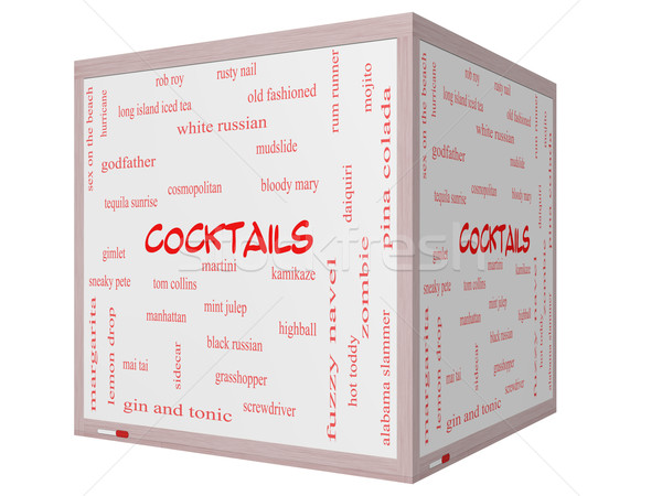 Cocktails Word Cloud Concept on a 3d Cube Whiteboard Stock photo © mybaitshop
