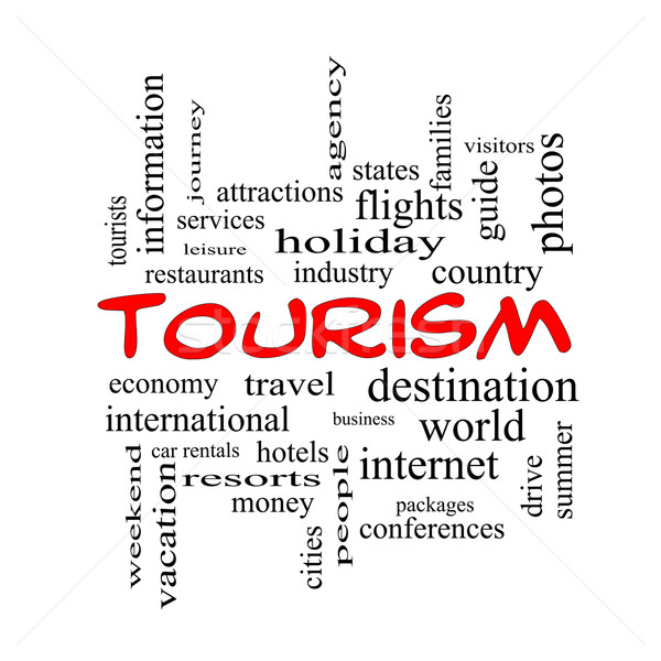 Tourism Word Cloud Concept in red caps Stock photo © mybaitshop