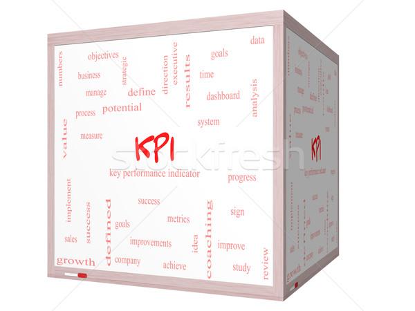 KPI Word Cloud Concept on a 3D cube Whiteboard Stock photo © mybaitshop