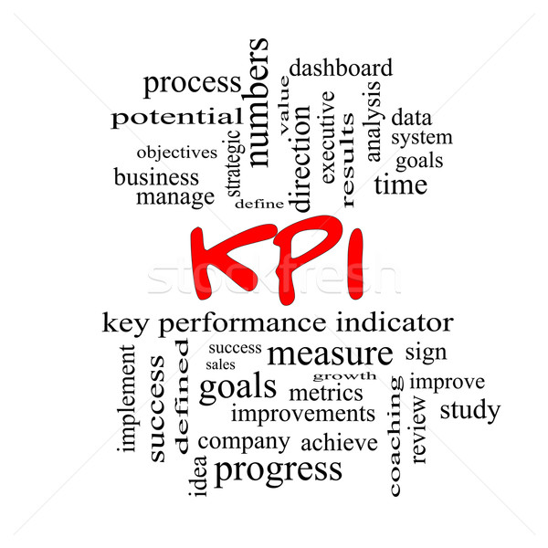 KPI Word Cloud Concept in red caps Stock photo © mybaitshop