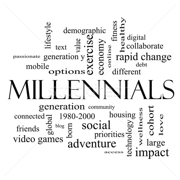 Millennials Word Cloud Concept in black and white Stock photo © mybaitshop