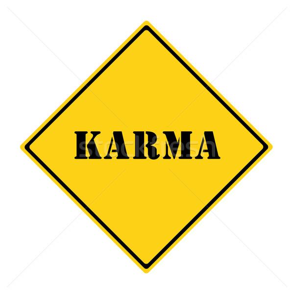 Karma felirat citromsárga fekete gyémánt alakú Stock fotó © mybaitshop