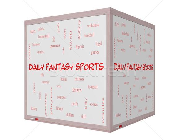 日々 ファンタジー スポーツ 言葉の雲 3D ホワイトボード ストックフォト © mybaitshop