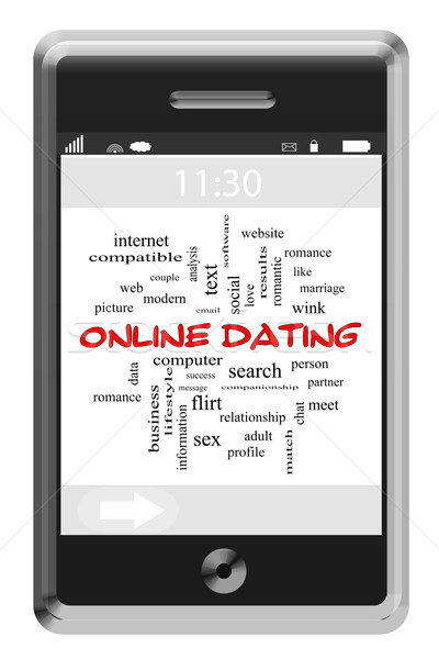 Stock photo: Online Dating Word Cloud Concept on a Touchscreen Phone