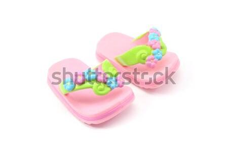 Mały dziewczyna zabawki sandały biały tle Zdjęcia stock © mybaitshop