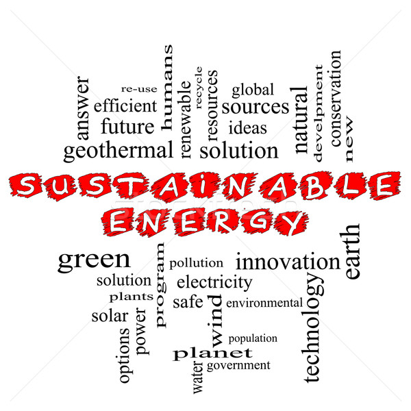 Sustainable Energy Scribbled Word Cloud Stock photo © mybaitshop