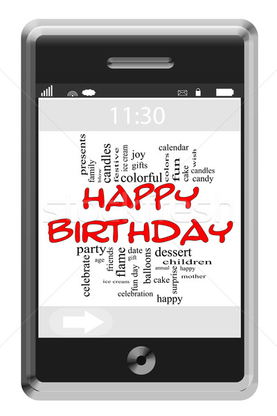 Happy Birthday Word Cloud Concept on Touchscreen Phone Stock photo © mybaitshop