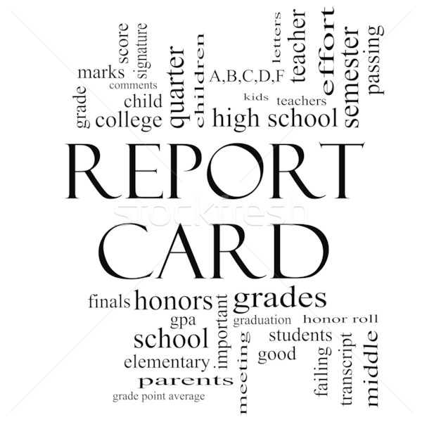 Report Card Word Cloud Concept in Black and White Stock photo © mybaitshop