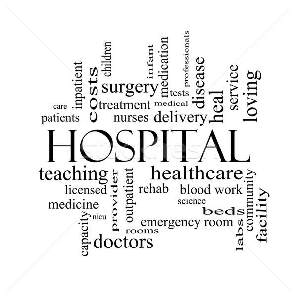 Kórház szófelhő feketefehér nagyszerű orvosok nővérek Stock fotó © mybaitshop
