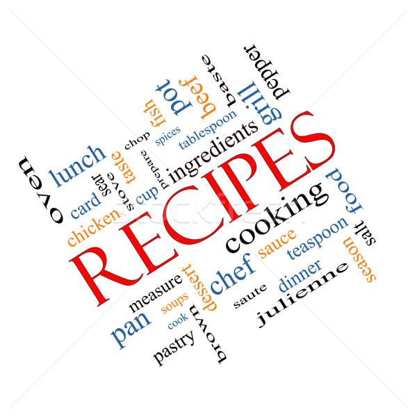 Recipes Word Cloud Concept Angled Stock photo © mybaitshop