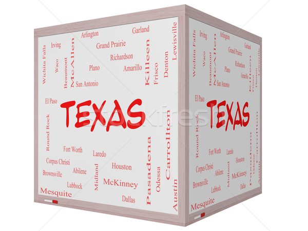 Texas State Word Cloud Concept on a  3D cube Whiteboard Stock photo © mybaitshop