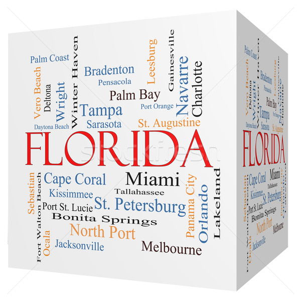Florida State 3D cube Word Cloud Concept Stock photo © mybaitshop