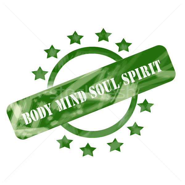 Green Weathered Body Mind Soul Spirit Stamp Circle and Stars design Stock photo © mybaitshop