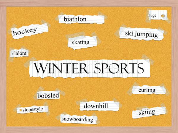 Winter Sports Corkboard Word Concept Stock photo © mybaitshop