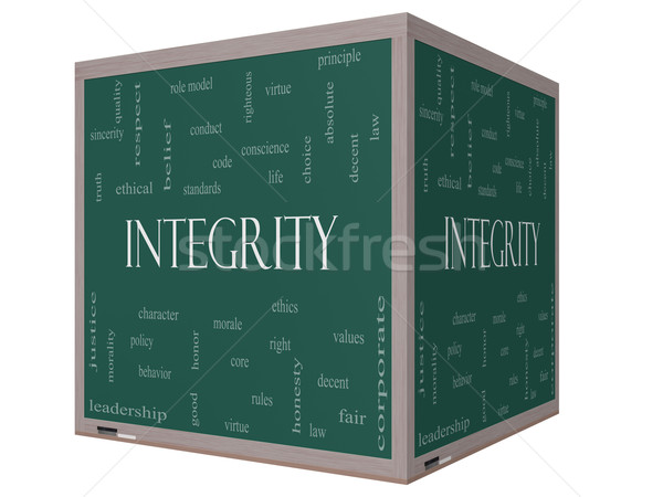 Stock photo: Integrity Word Cloud Concept on a 3D cube Blackboard