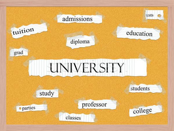 Universiteit woord groot onderwijs diploma meer Stockfoto © mybaitshop