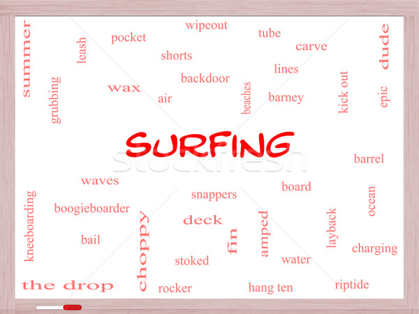 Surfen woordwolk groot zomer boord Stockfoto © mybaitshop