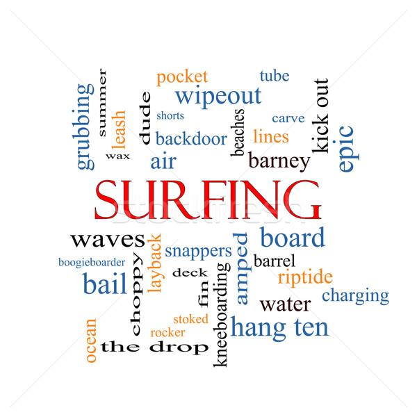 Surfen woordwolk groot zomer boord golven Stockfoto © mybaitshop