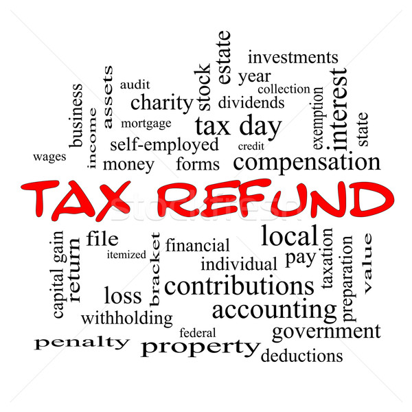 Tax Refund Word Cloud Concept in red caps Stock photo © mybaitshop