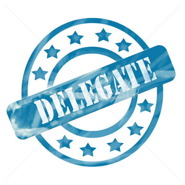 Stock photo: Blue Weathered Delegate Stamp Circles and Stars