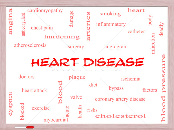 Heart Disease Word Cloud Concept on a Whiteboard Stock photo © mybaitshop