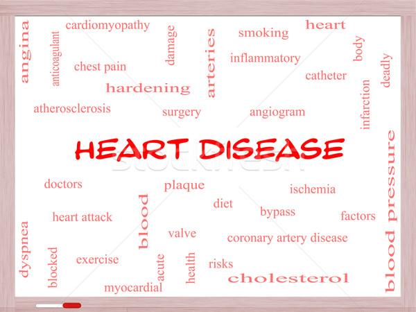 Heart Disease Word Cloud Concept on a Whiteboard Stock photo © mybaitshop