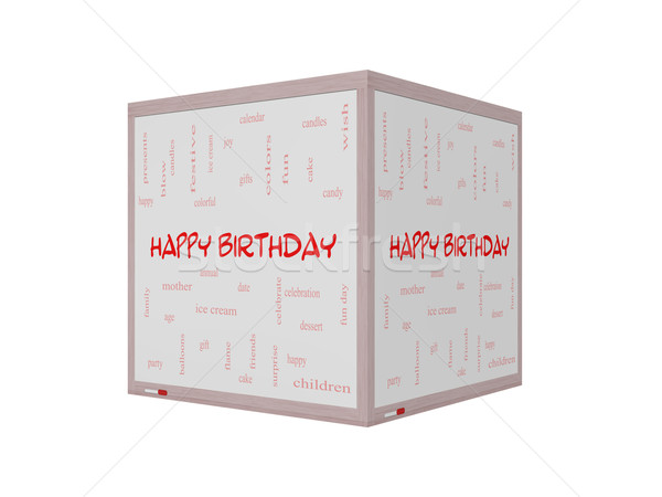 Happy Birthday 3D Word Cloud Concept on a Whiteboard Stock photo © mybaitshop