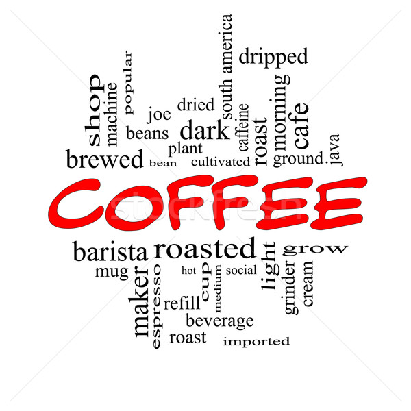Coffee Word Cloud Concept in Red Caps Stock photo © mybaitshop