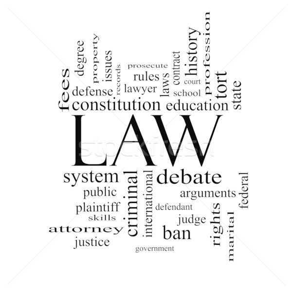 Law Word Cloud Concept in black and white Stock photo © mybaitshop