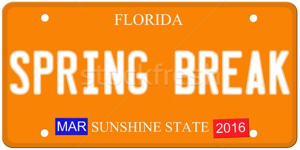 Tavaszi szünet Florida rendszámtábla utánzás 2016 matricák Stock fotó © mybaitshop