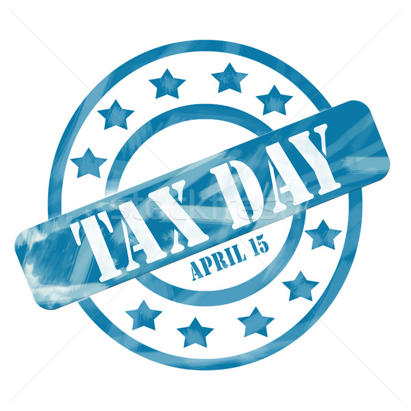 Blue Weathered Tax Day April 15th Stamp Circles and Stars Stock photo © mybaitshop