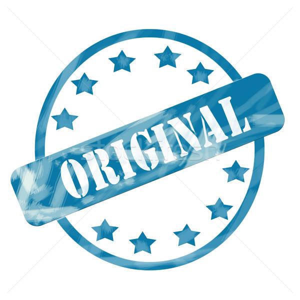 Azul capeado original sello círculo estrellas Foto stock © mybaitshop