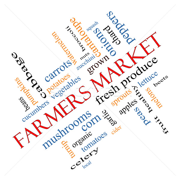 Farmers Market Word Cloud Concept Angled Stock photo © mybaitshop