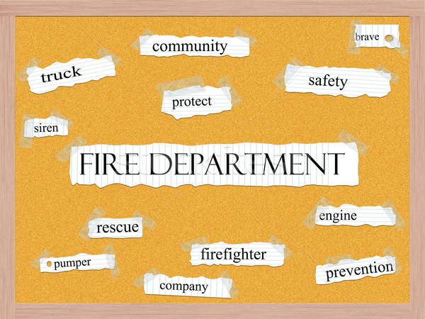 Tűzoltóság szó nagyszerű biztonság bátor mentés Stock fotó © mybaitshop