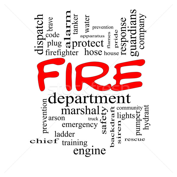 Fire Department Word Cloud Concept in red caps Stock photo © mybaitshop