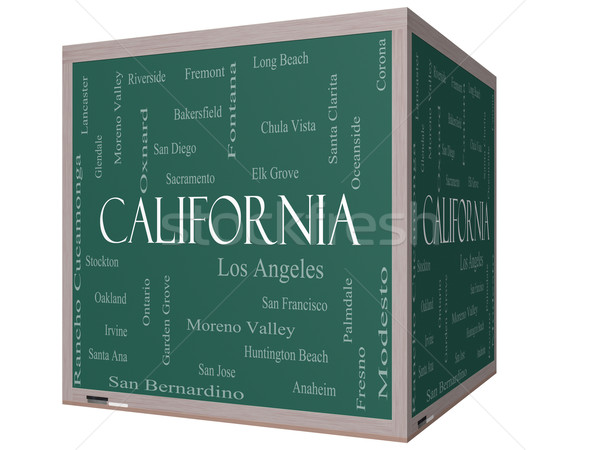California State Word Cloud Concept on a 3D cube Blackboard Stock photo © mybaitshop
