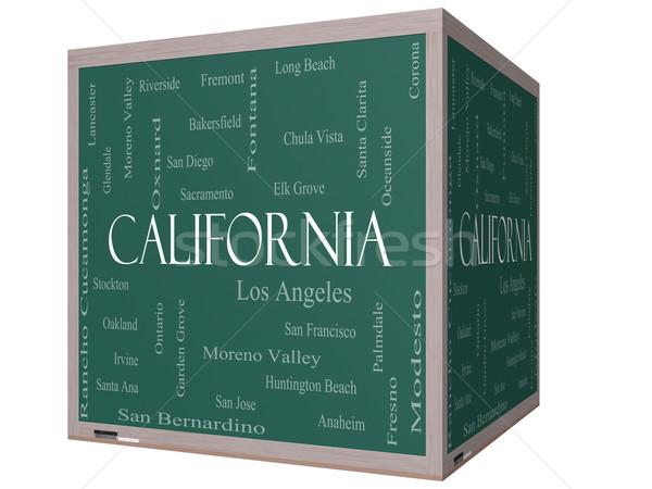 Калифорния слово облако 3D куб доске 30 Сток-фото © mybaitshop