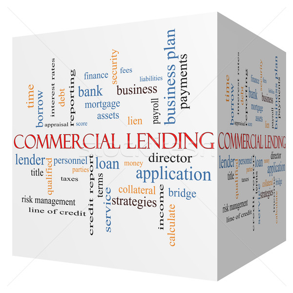 Commercial Lending 3D cube Word Cloud Concept Stock photo © mybaitshop