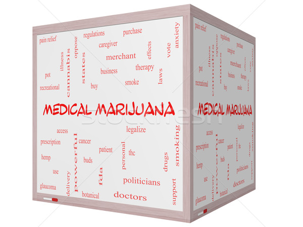Medical Marijuana Word Cloud Concept on a 3D cube Whiteboard Stock photo © mybaitshop