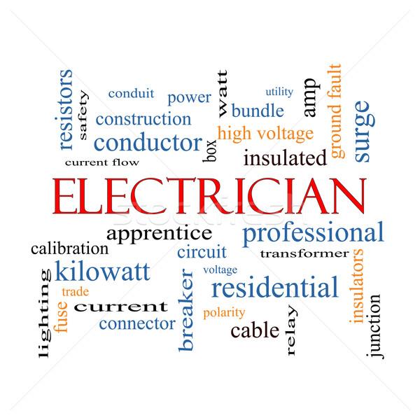 électricien nuage de mots magnifique tension apprenti circuit Photo stock © mybaitshop