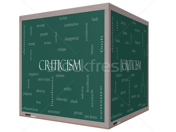 Criticism Word Cloud Concept on a 3D cube Blackboard Stock photo © mybaitshop