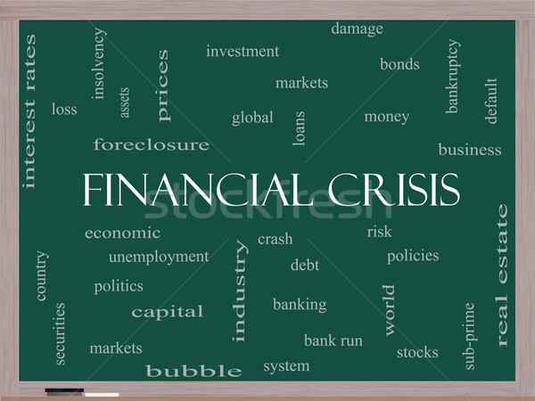 финансовый кризис слово облако доске глобальный аварии Сток-фото © mybaitshop