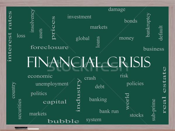 Crisi finanziaria word cloud lavagna globale crash Foto d'archivio © mybaitshop
