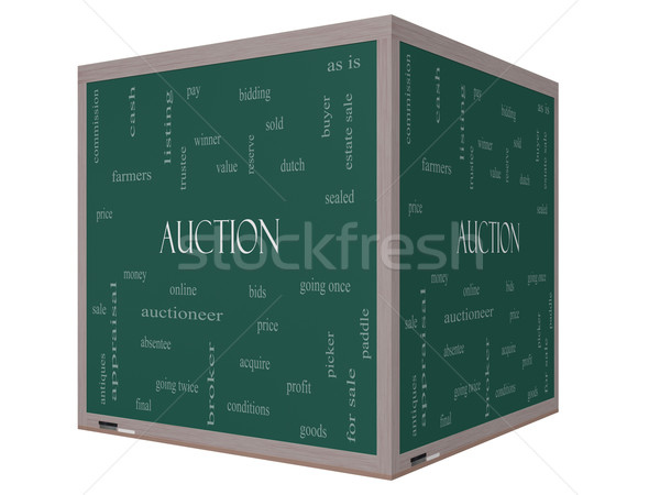 Stock photo: Auction Word Cloud Concept on a 3D cube Blackboard