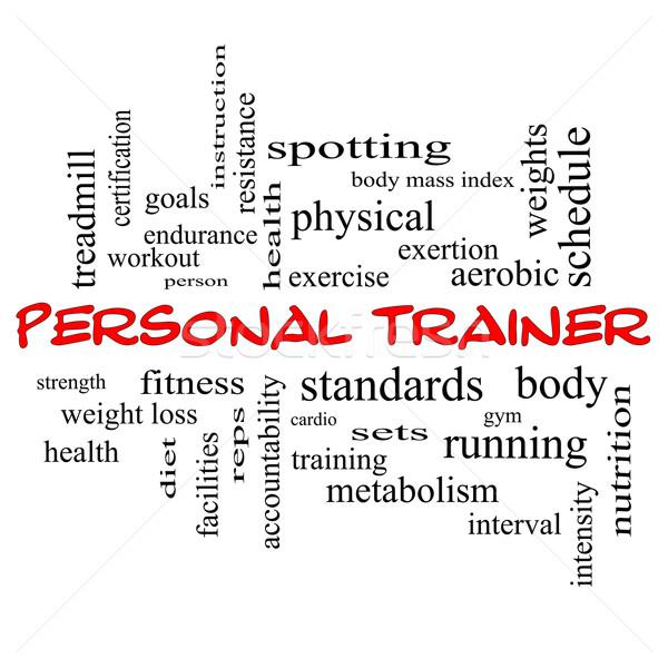 Personal trainer kelime bulutu kırmızı muhteşem uygunluk egzersiz Stok fotoğraf © mybaitshop