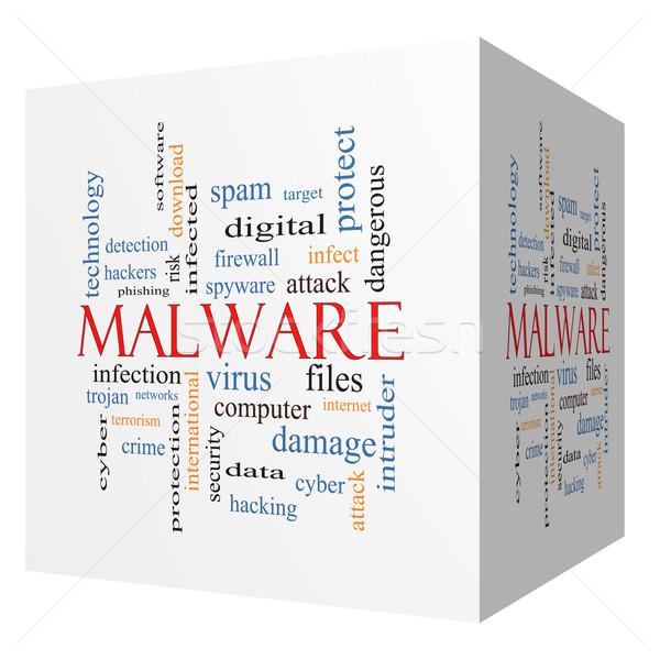 Malware 3D kubus woordwolk groot trojaans Stockfoto © mybaitshop