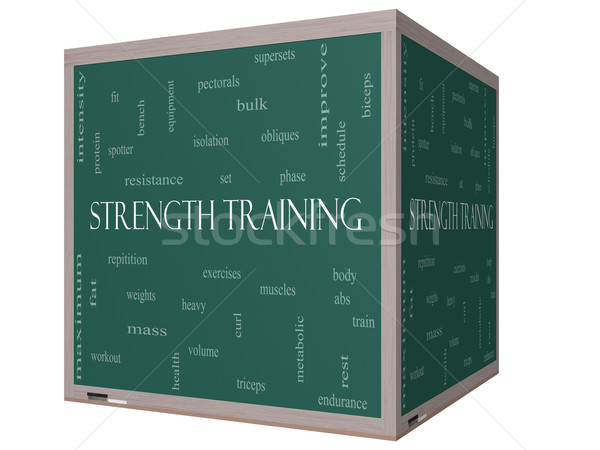 Krachttraining woordwolk 3D kubus Blackboard groot Stockfoto © mybaitshop