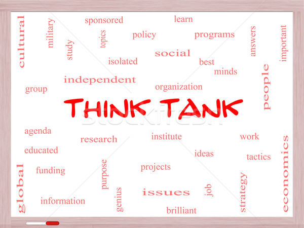 Think Tank Word Cloud Concept on a Whiteboard Stock photo © mybaitshop