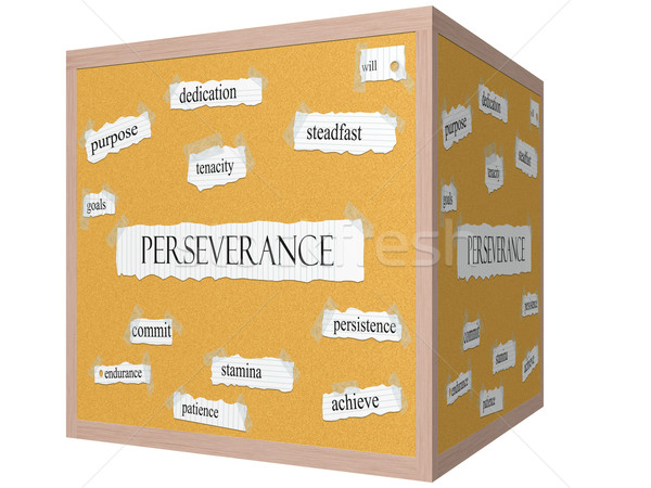 Perseverance 3D cube Corkboard Word Concept Stock photo © mybaitshop